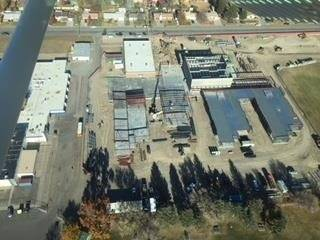 Aerial view of the construction on the Columbine Building
