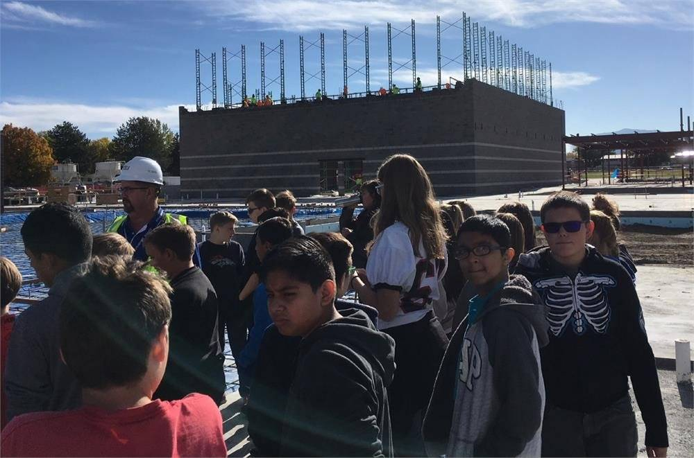 Students at the Columbine Building construction site